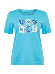 Tigi Short Sleeve Crew Neck Print Top Blue