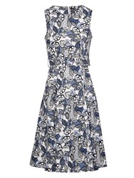 Izabel London Tie Waist Fit And Flare Dress Blue Multi