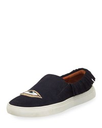 Figue Karita Fringe Suede Slip On Sneaker Navy