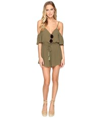 Clayton Crepe Mckenna Playsuit Olive Women's Jumpsuit And Rompers One Piece