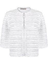 D.Exterior Brocade Fitted Jacket White