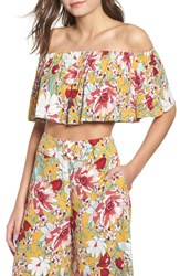 Leith Floral Ruffle Tube Top Yellow Mineral Floral