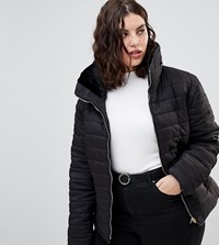 Ax Paris Plus Wet Look Cropped Jacket Black