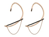 Rebecca Minkoff Pave Ear Wrap Cuff With Chain And Stud Earrings Rose Gold Jet Earring