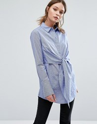Warehouse Tie Front Dobby Shirt Blue