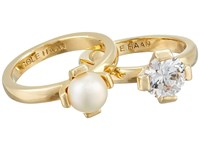 Cole Haan Cream Stack Ring Set Gold Fwp Cz Ring
