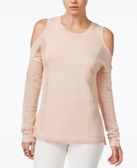 Bar Iii Perforated Cold Shoulder Sweater Only At Macy's Ballet Pink