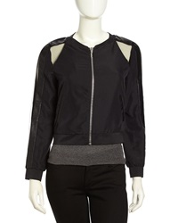 Stella And Jamie Mesh Contrast Crepe Bomber Jacket Black