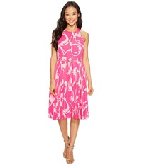 Vince Camuto Specialty Size Petite Cut Out Floral Pleated Belted Halter Dress Electric Pink Women's Dress
