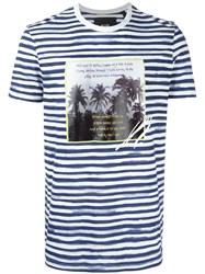 Blood Brother Palm Tree Print Striped T Shirt Blue