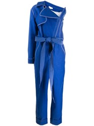 Genny Contrast Stitch One Sleeve Jumpsuit Blue