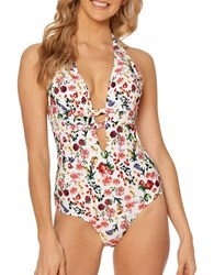 Jessica Simpson Garden Party Floral One Piece White Multicolor