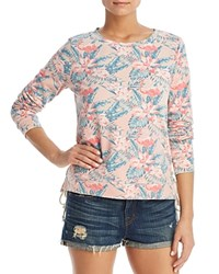 Billy T Tropical Print Lace Up Sweatshirt Sunset Paradise