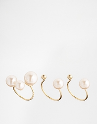 Asos Limited Edition Open Faux Pearl Ring Pack Cream