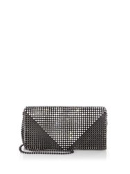 Whiting And Davis Crystal Triangle Convertible Clutch Gunmetal