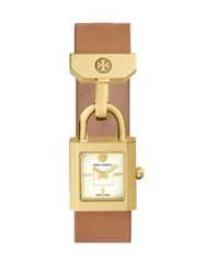 Tory Burch Surrey Goldtone Stainless Steel And Leather Strap Watch Cognac Gold