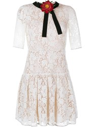 Gucci Lace Mini Dress Beige