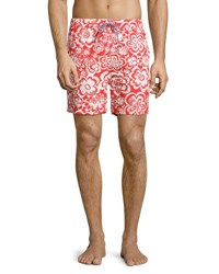 Psycho Bunny Floral Print Swim Trunks Gray