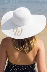 Cathy's Concepts Monogram Straw Sun Hat White