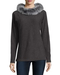 Magaschoni Cashmere Dolman Sleeve Sweater W Fox Fur Collar Charcoal