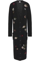 Red Valentino Redvalentino Woman Embroidered Cable Knit Cardigan Black