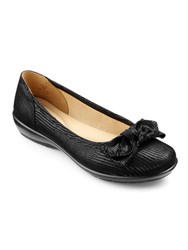 Hotter Jewel Bow Front Ballerina Shoes Black Leather