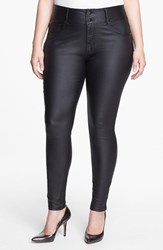 Plus Size Women's City Chic Wet Look Stretch Skinny Jeans Black