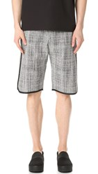 Public School Tryan Elongated Shorts Black White