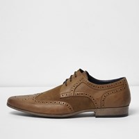 River Island Mens Tan Panel Brogues