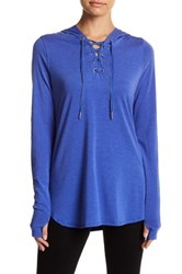 Nanette Lepore Hooded Lace Up Pullover Blue
