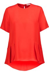 Oscar De La Renta Ruffled Silk Crepe Chine Blouse Red