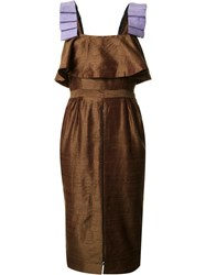 Maki Oh Ribbon Strap Midi Dress Brown