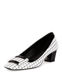 Roger Vivier Belle Graphic Grid Pump White Black White Black