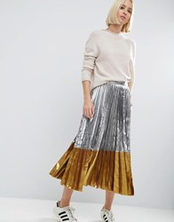 Asos Pleated Midi Skirt In Metallic With Contrast Hem Silver