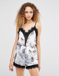 Daisy Street Playsuit With Lace Trim White Black