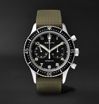 Zenith Pilot Chronometro Tipo Cp 2 43Mm Stainless Steel And Leather Watch Green