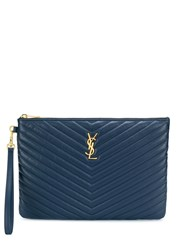 Saint Laurent Monogram Zipped Pouch Blue