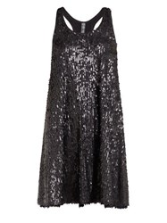 Norma Kamali Sequinned Flared Mini Dress Black