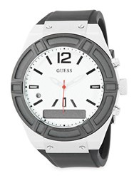Guess Connect Stainless Steel And Silicone Fashion Smart Watch C0001g4 Silver