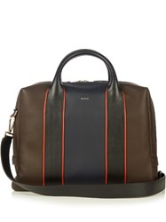 Paul Smith Colour Block Leather Piped Briefcase Brown Multi