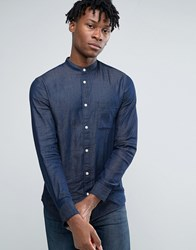 Selected Homme Long Sleeve Slim Fit Shirt With Grandad Collar In Washed Indigo Dark Blue Navy