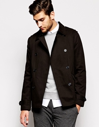 Asos Trench Coat In Shorter Length Black