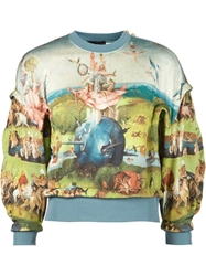 Undercover Cropped Printed Sweatshirt Blue