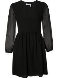 Chloe Light Seersucker Dress Black