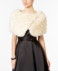 Tahari By Arthur S. Levine Asl Grooved Faux Fur Shrug Champagne