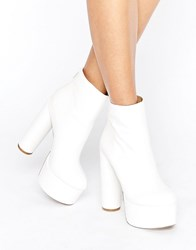 Public Desire Sky White Platform Heeled Ankle Boots White Pu