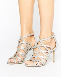 Head Over Heels By Dune Mae Silver Caged Heel Sandals Silver