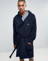 Asos Towelling Dressing Gown With Logo Navy