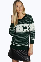 Boohoo Snowflake And Reindeer Knitted Jumper Bottle