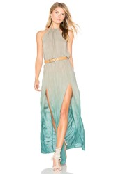 Blue Life Slit Halter Dress Green